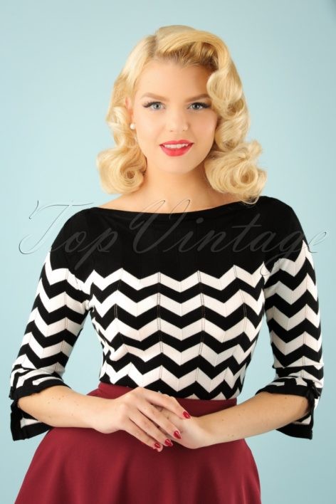 60s Vanilla Top in Black and White
