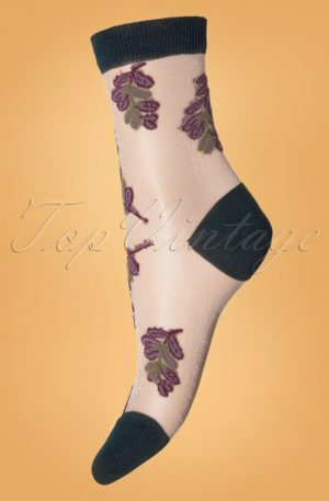 70s Belle Flower Socks in Dark Green