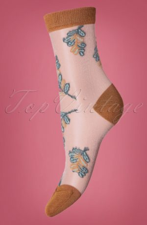 70s Belle Flower Socks in Dull Gold