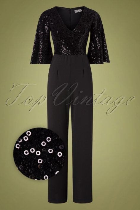 70s Courtney Sequin Jumpsuit in Black