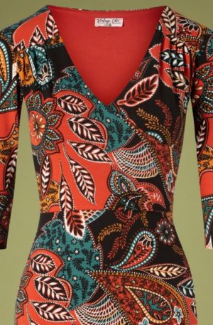 70s Gigi Paisley Pencil Dress in Brick
