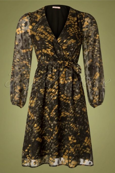 70s Maybe Wrap Dress in Black and Mustard