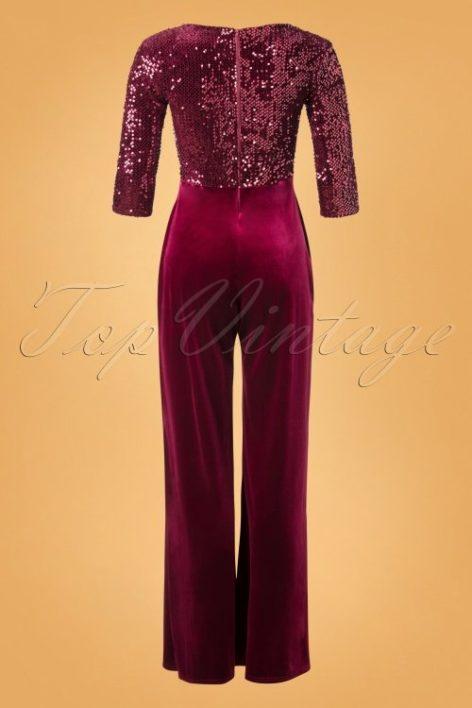 70s Sigourney Sequin Velvet Jumpsuit in Wine