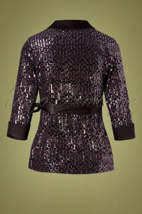 70s Tibbie Sequin Blazer in Black