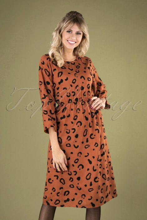 70s Vestido Animal Dress in Rusty Orange