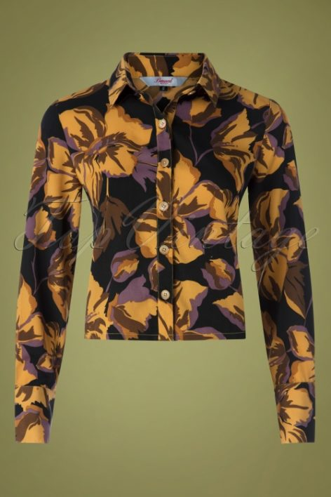70s What A Darling Floral Blouse in Black