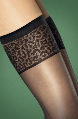 Antera Leopard Stockings in Black