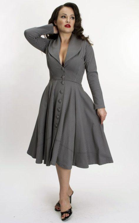 Bettie Page Clothing - Kleid Ursula mit Hahnentrittmuster | Houndstooth von Rockabilly Rules