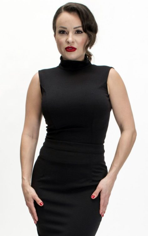 Bettie Page Clothing - Nicole Top, schwarz von Rockabilly Rules
