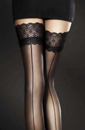 Celia Seamed Hold Ups in Black