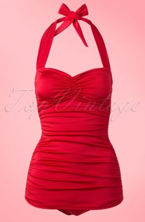 Classic Fifties One Piece Swimsuit in Red