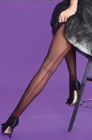 Classic Seamer Tights in Black with Red seam
