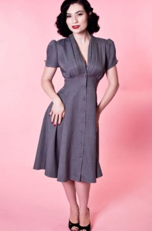 Heart of Haute – Manhattan Dress Skyscraper Grey von Rockabilly Rules