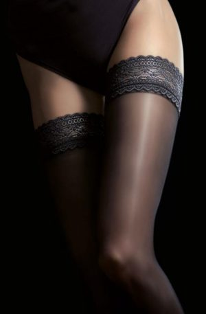 Jaci Satin Gloss Hold Ups in Black