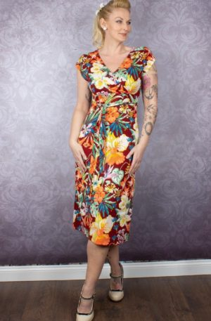 King Louie Sommerkleid Blumen Avalon, Sandelholz von Rockabilly Rules