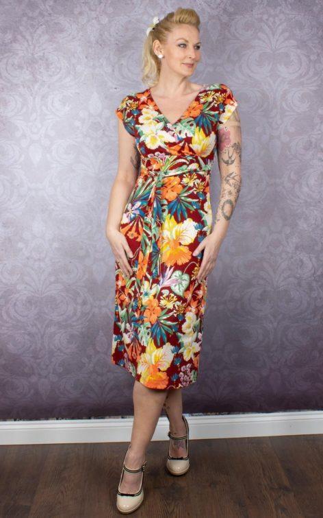 King Louie Sommerkleid Blumen Avalon, Sandelholz von Rockabilly Rules