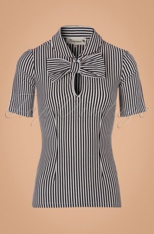 Limited Edition ~ 50s All Aboard Blouse in Black and White