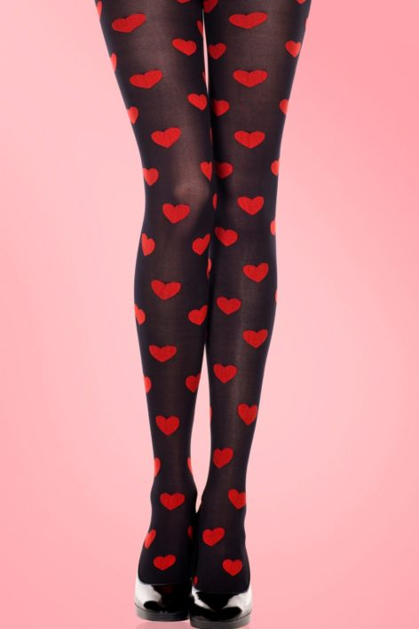 Lovely Hearts Tights in Black