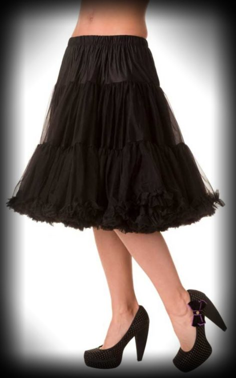 Petticoat lang Rockabella - schwarz von Rockabilly Rules
