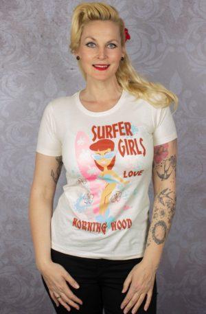 Pinky Star Damen T-Shirt – Surfer Girls love…. von Rockabilly Rules