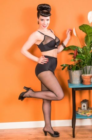 Retro Seamed Tights in Black