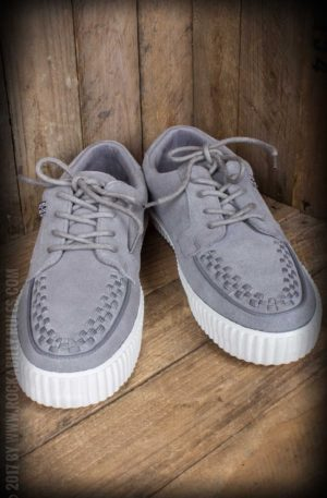 TUK Grey Suede Interlace EZC Creeper Sneaker with White Sole von Rockabilly Rules