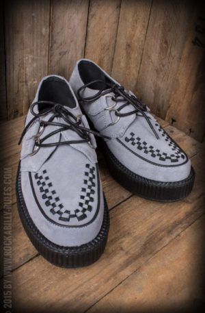 TUK Grey Suede Round Toe Low Sole Creeper von Rockabilly Rules