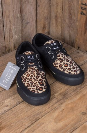 TUK VLK D Ring Creeper Sneaker, Black Leopard von Rockabilly Rules