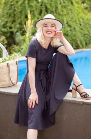 Very Cherry Ballerina Sommer Kleid, navy von Rockabilly Rules