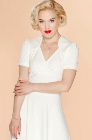 Very Cherry – Hollywood Circle Dress Elfenbein von Rockabilly Rules