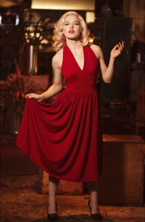 Very Cherry Kleid Marilyn Monroe, rot von Rockabilly Rules