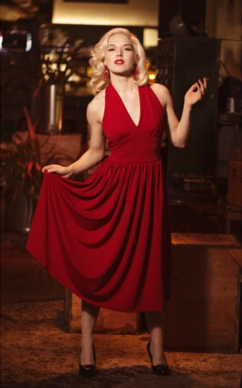 Very Cherry Kleid Marilyn Monroe, rot von Rockabilly Rules