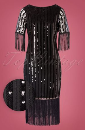 20s Marcy Fringe Dress in Black