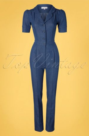 40s Classic Jumpsuit in Light Denim