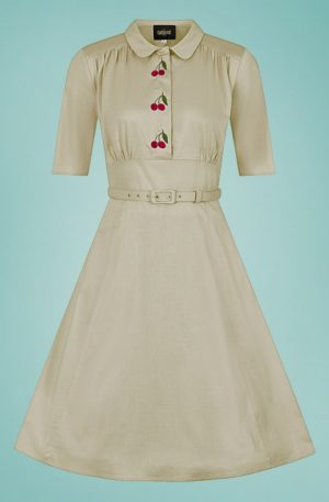 40s Doriane Cherry Swing Dress in Beige