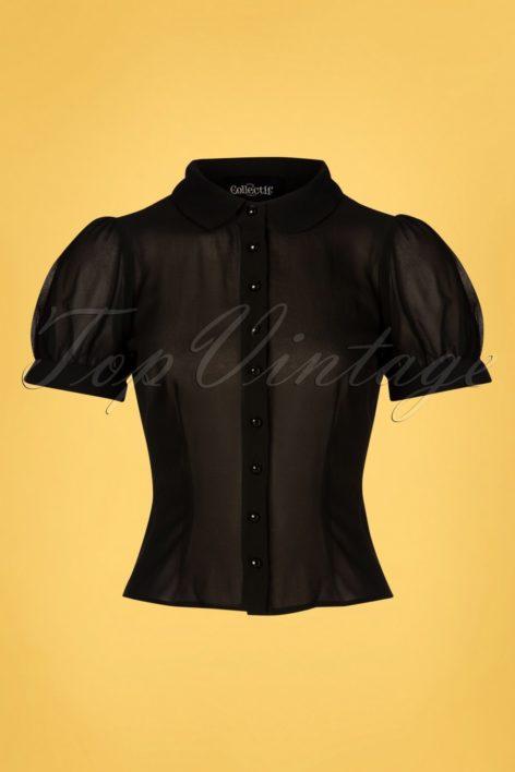 40s Erika Plain Blouse in Black