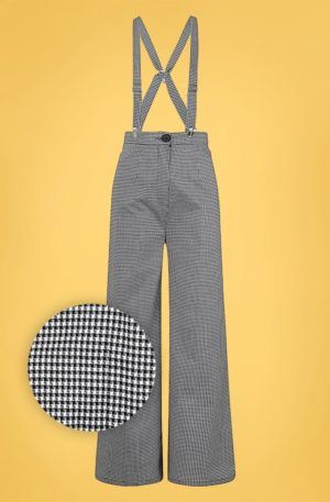 40s Glinda Houndstooth Trousers in Black and White