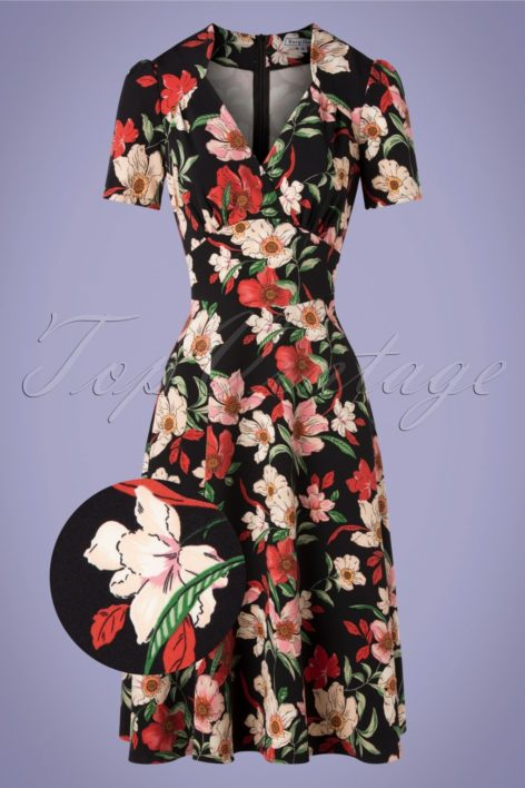 40s Hollywood Portobello Roses Circle Dress in Black