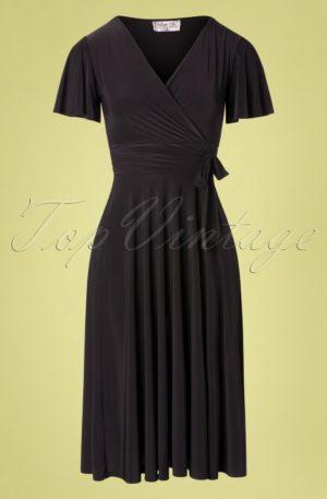 40s Irene Cross Over Swing Dress in Black