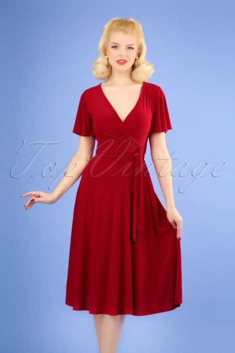 40s Irene Cross Over Swing Dress in Red