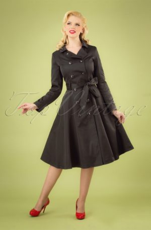 40s Korrina Swing Trench Coat in Black
