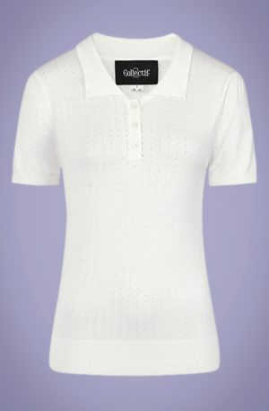 40s Pina Pointelle Knitted Polo in Ivory