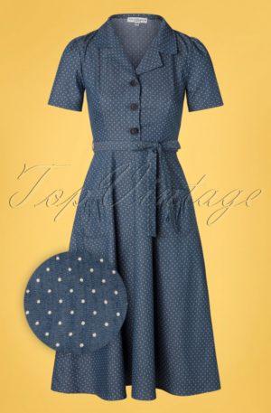 40s Revers Midi Dots Dress in Light Denim Blue