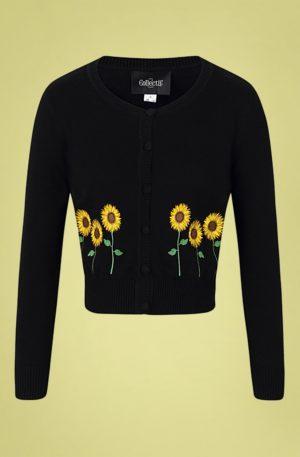 50s Abigail Sunflower Cardigan in Black