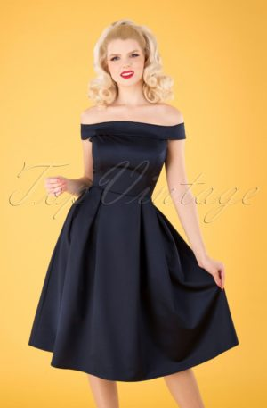 50s Anastasia Satin Swing Dress in Navy