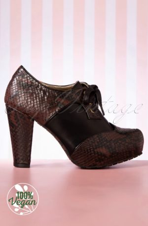 50s Angie High Heeled Booties in Brown