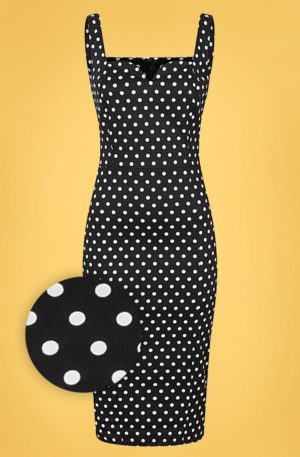50s Anita Polka Dot Pencil Dress in Black