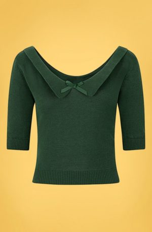 50s Babette Jumper in Forest Green