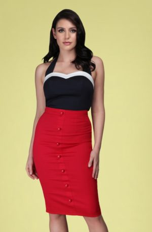 50s Bettina Pencil Skirt in Lipstick Red