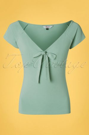 50s Bow Wow Top in Duck Egg